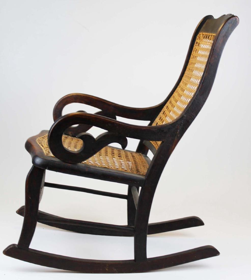 ca 1870 child's cane seat Lincoln rocker - 3
