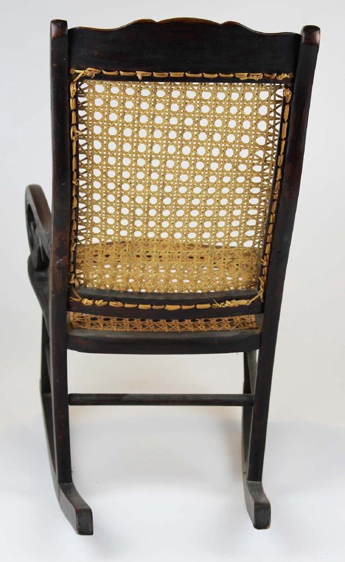 ca 1870 child's cane seat Lincoln rocker - 4
