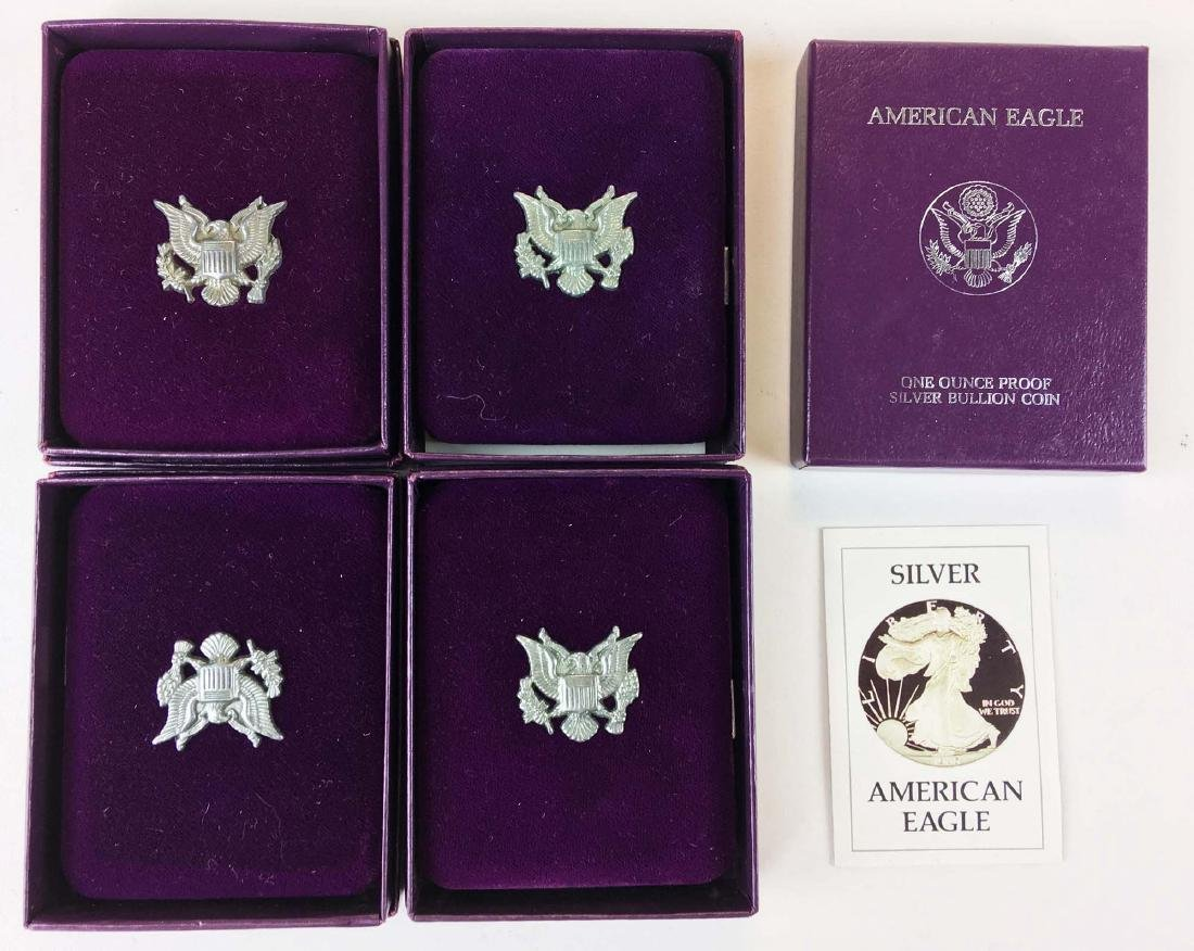 4 US American Eagle 1 oz proof coins