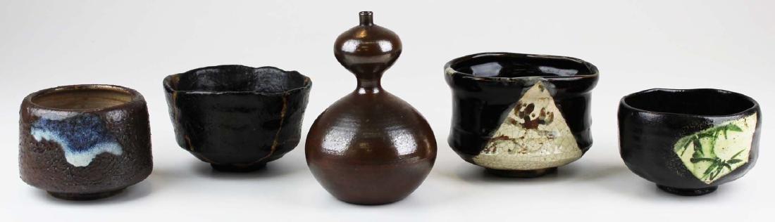 five old Japanese Raku bowls & vase