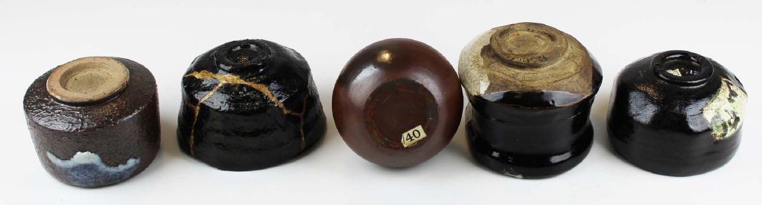 five old Japanese Raku bowls & vase - 3