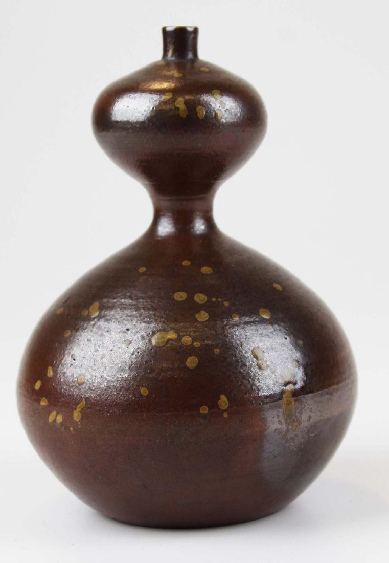five old Japanese Raku bowls & vase - 5