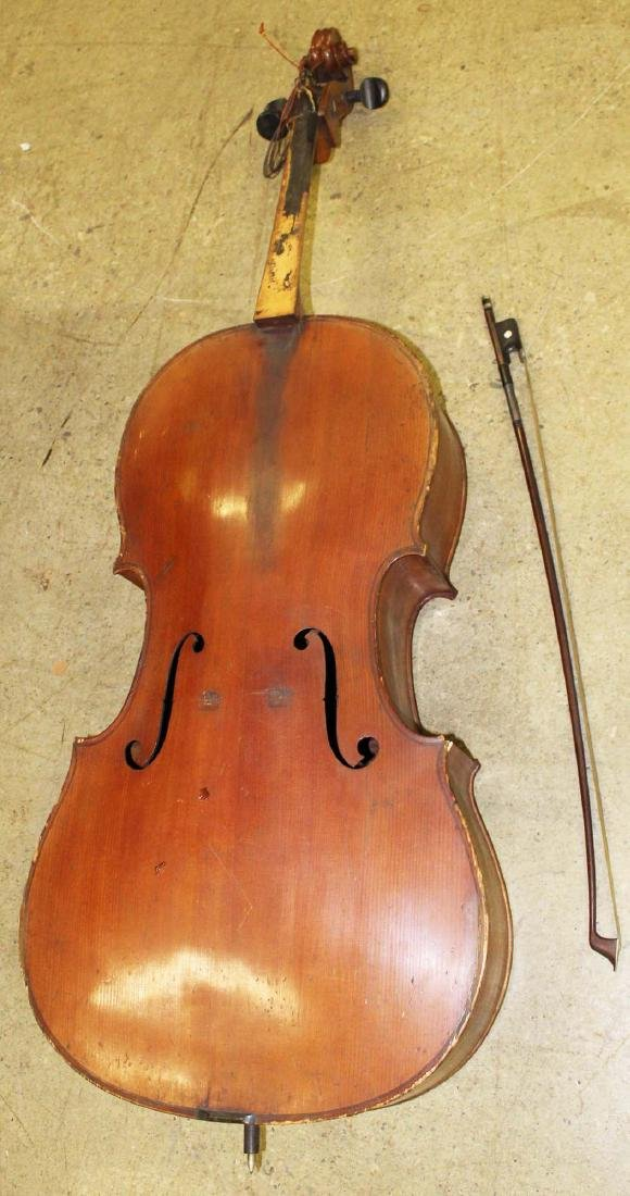 early 20th c cello- as is, w/ C Suss bow