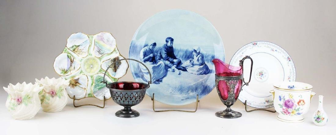 group of mixed porcelain and glass incl. Belleek