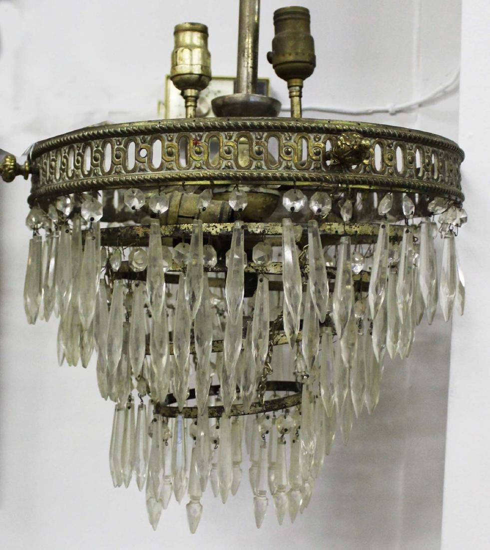 5 tier glass prizmed wedding cake chandelier - 3