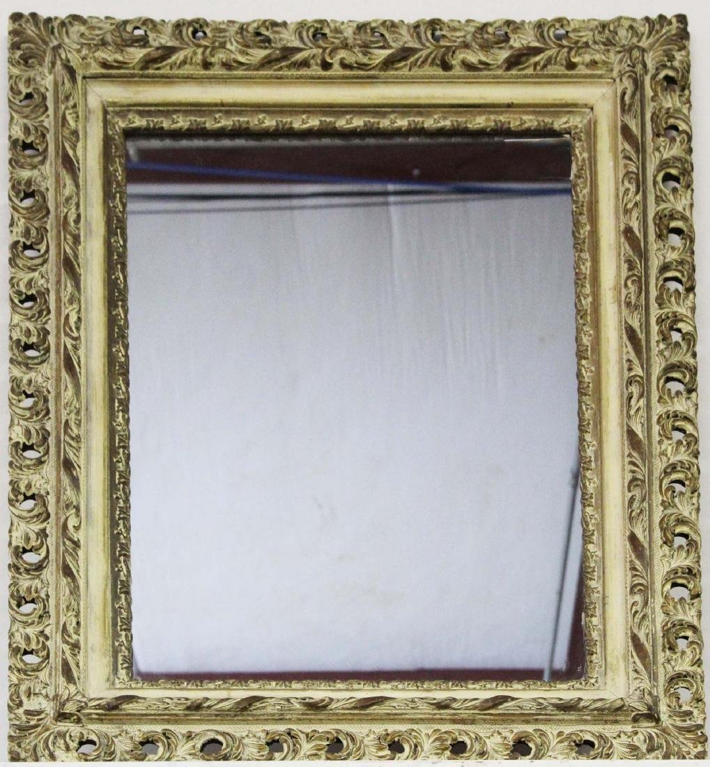late Victorian ornate gesso deep frame mirror