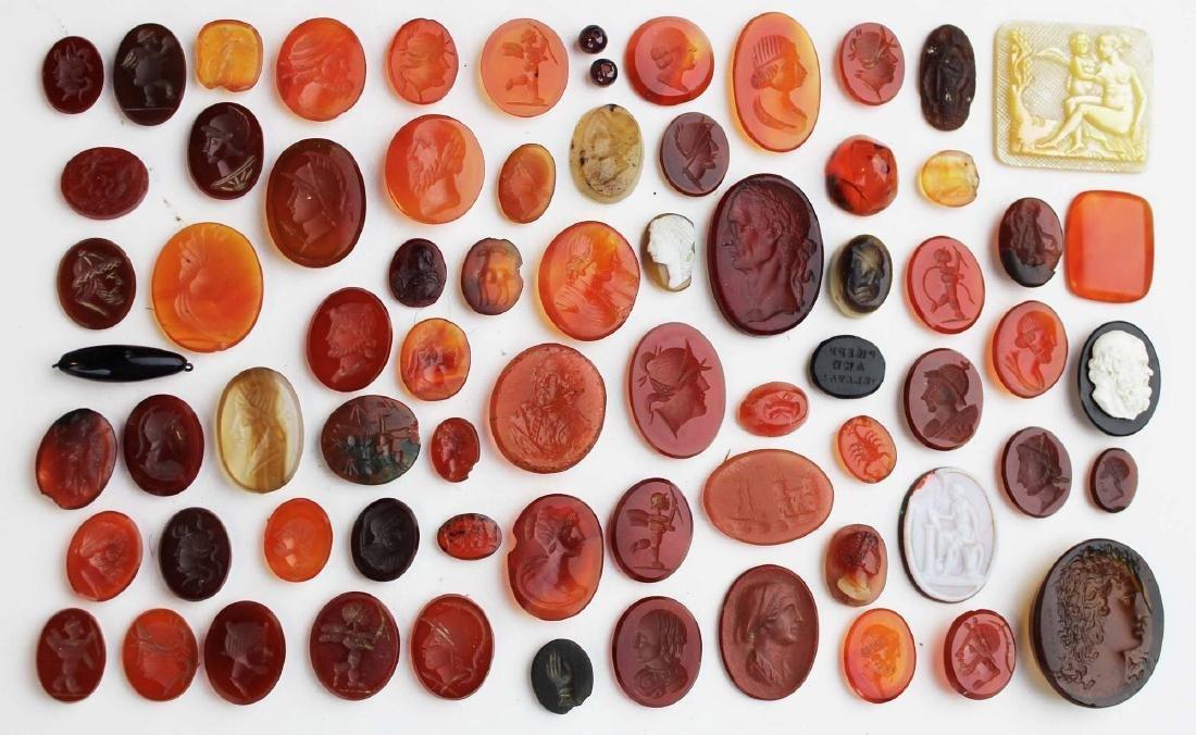 lot of intaglio carved carnelian medallions