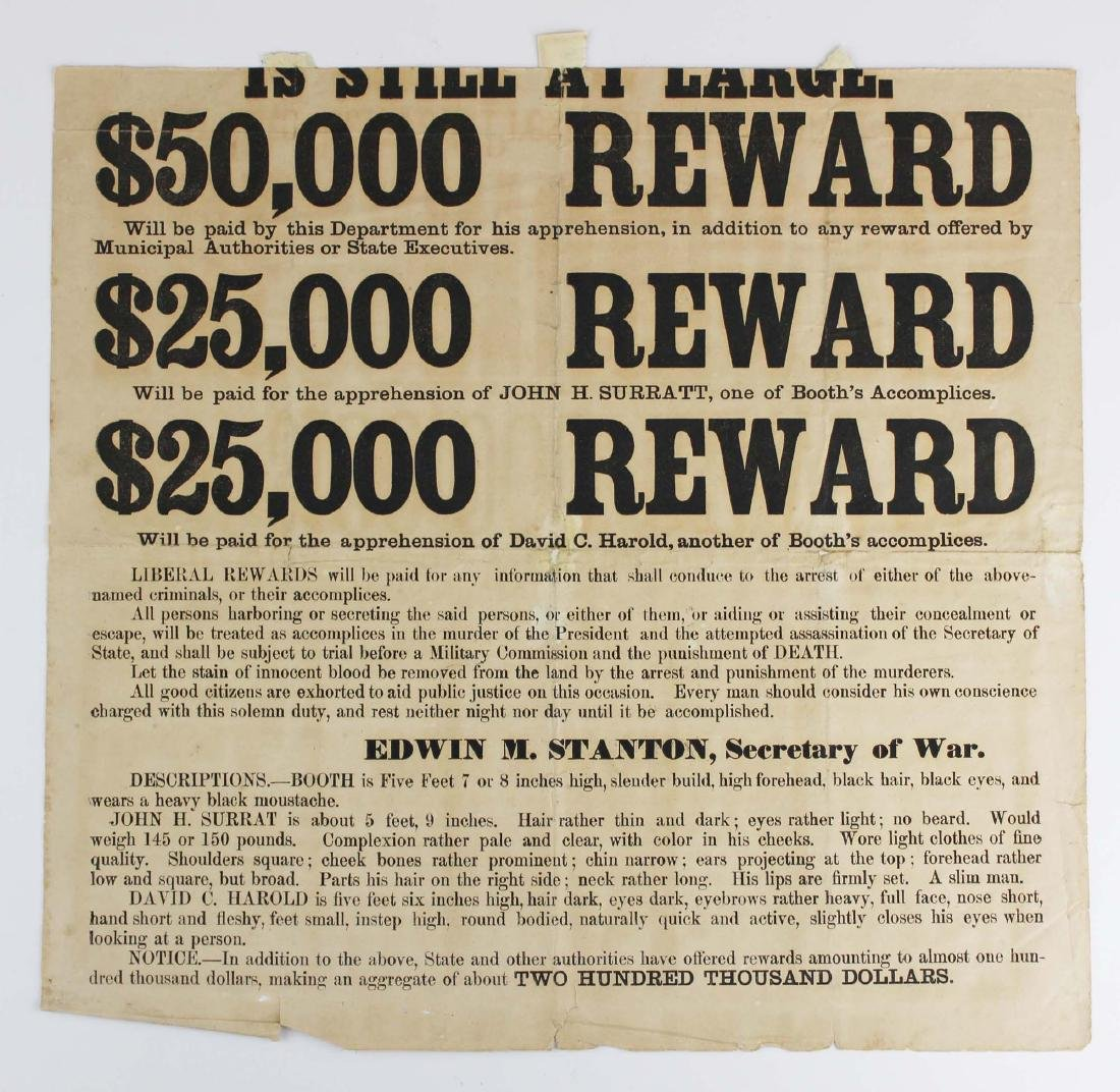 1865 Lincoln assassination wanted poster