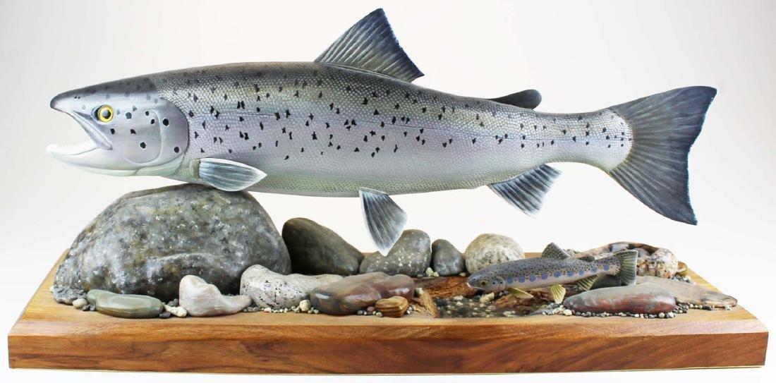 Albert Diem life size full body salmon carving
