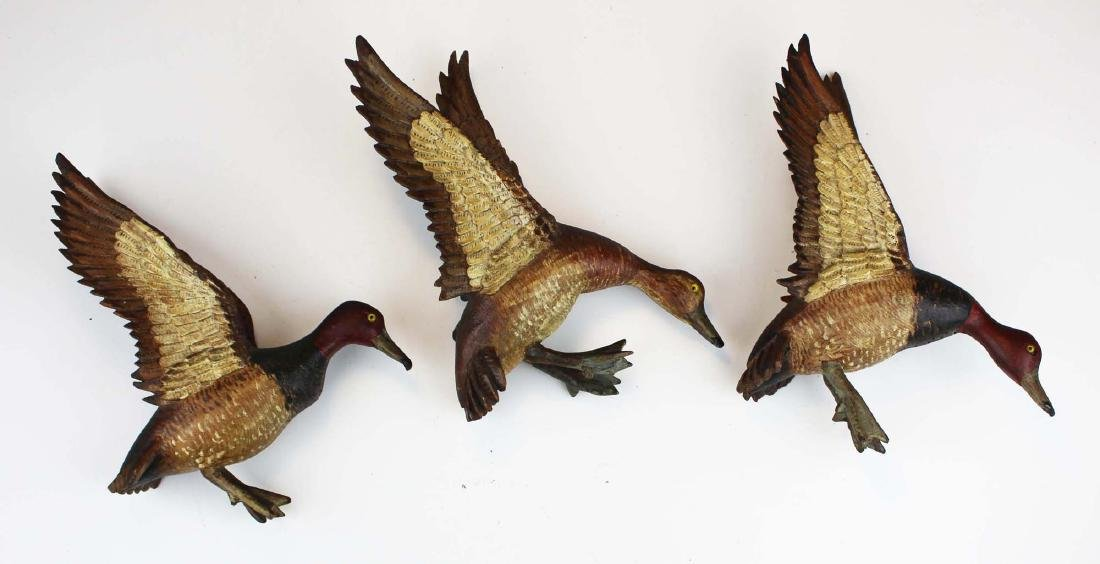 Group of 3 minature carved flying Canvasbacks - 2
