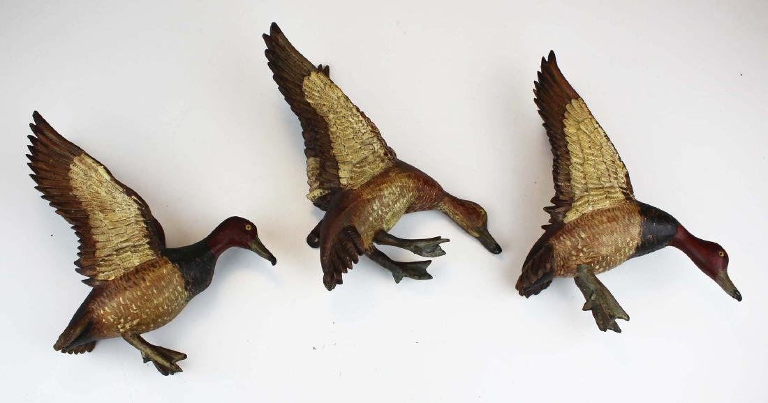 Group of 3 minature carved flying Canvasbacks - 4