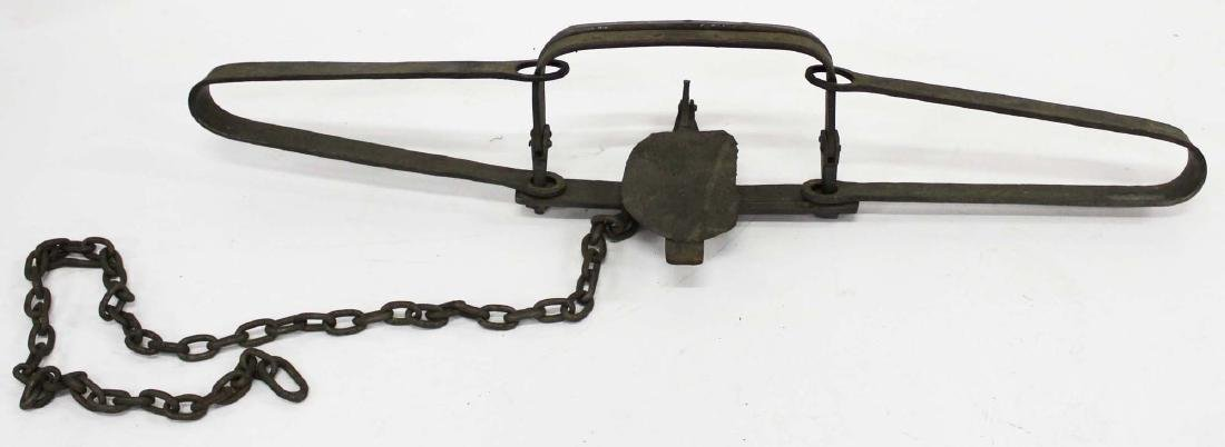 very large mid 19th c hand wrought bear trap