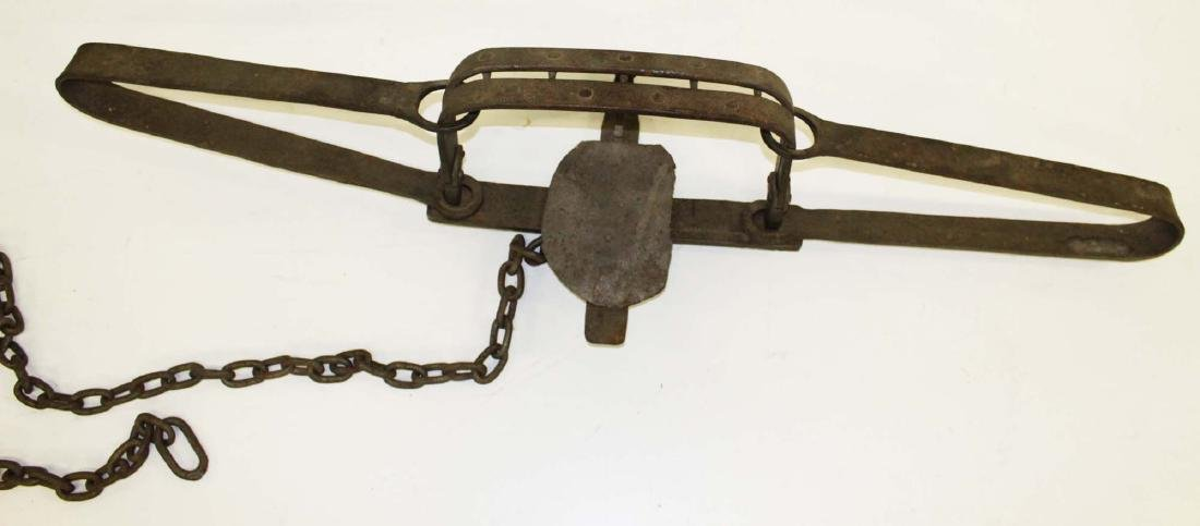very large mid 19th c hand wrought bear trap - 3