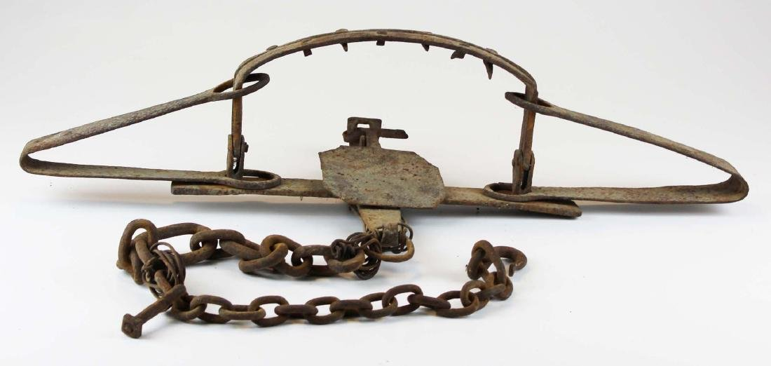 early 19th c hand wrought bear trap