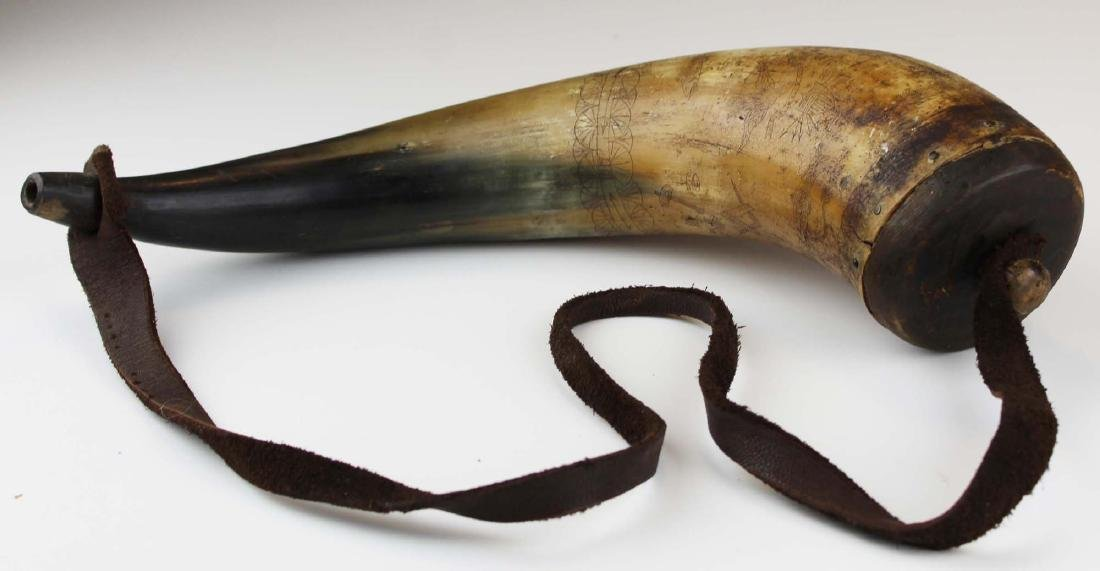 1817 T M Cox Boston powder horn
