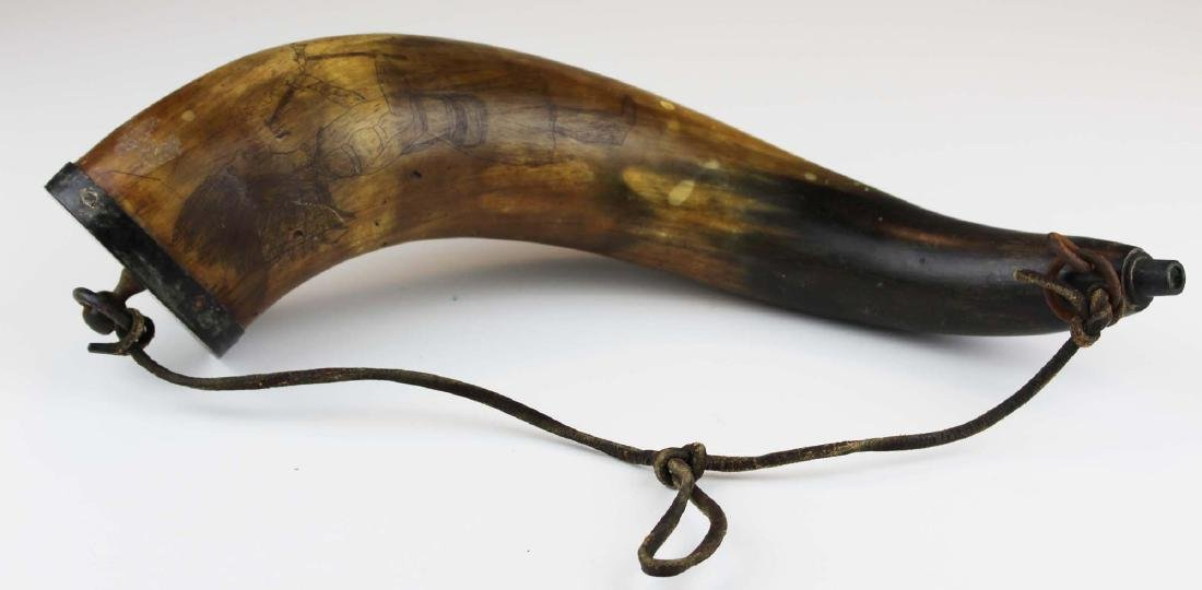 early 19th c powder horn with Indian