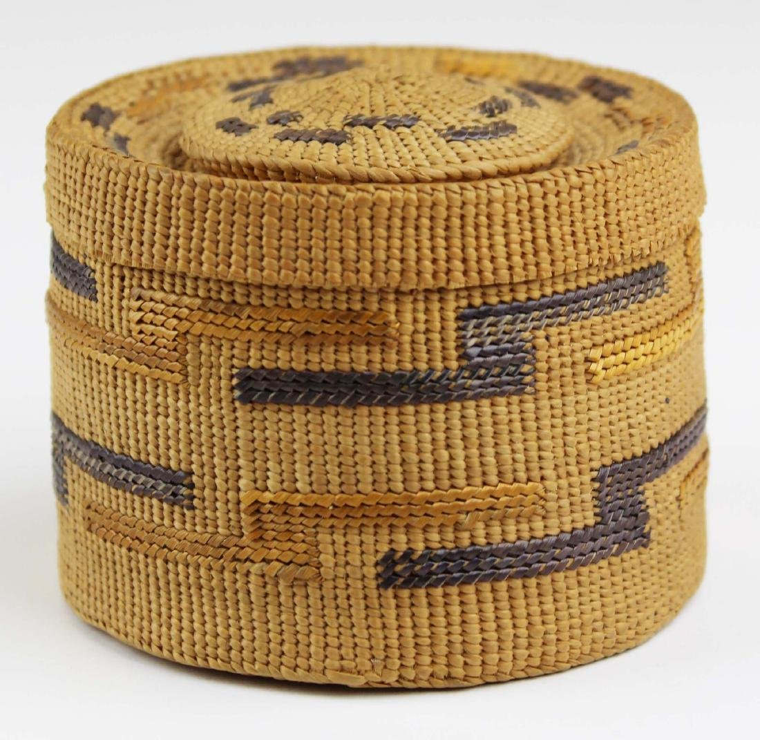 Northwest Coast rattle top covered basket