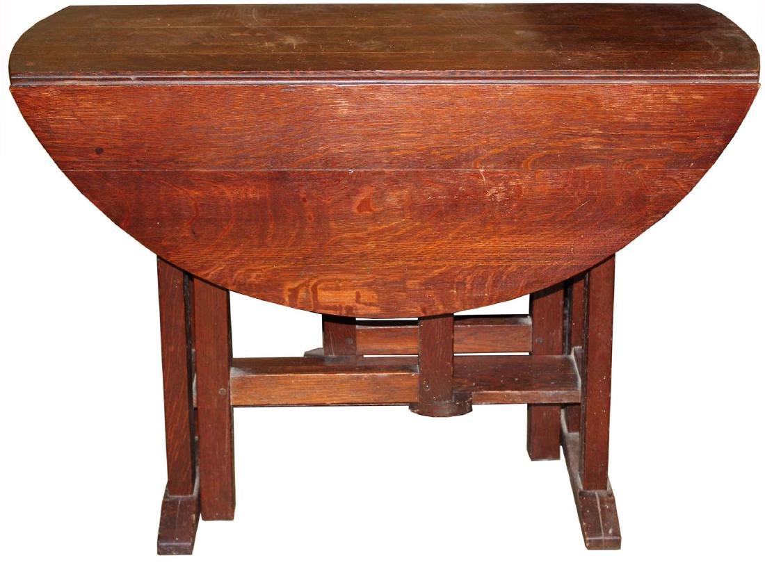 Gustav Stickley oak gateleg drop leaf table