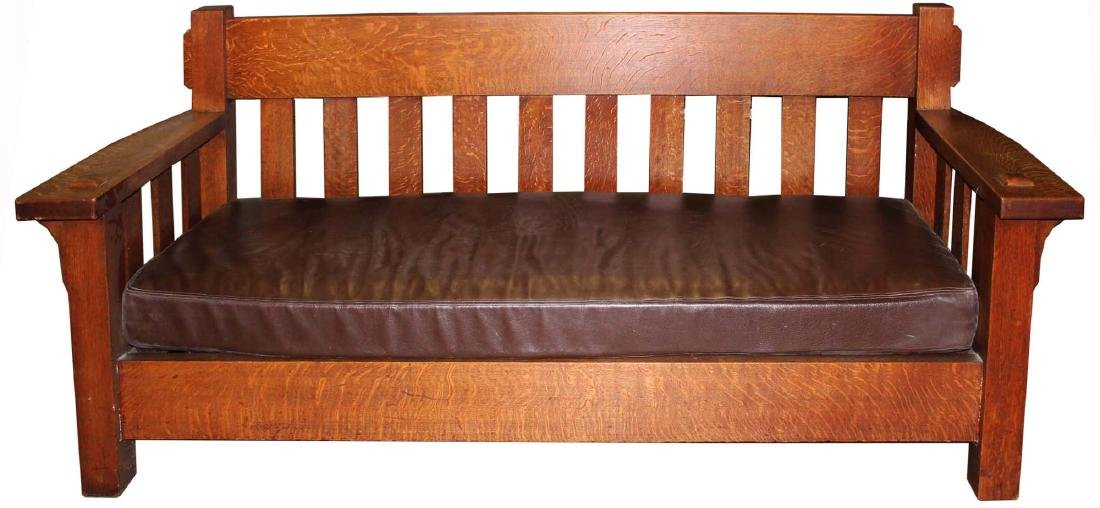 exceptional Arts and Crafts oak settee