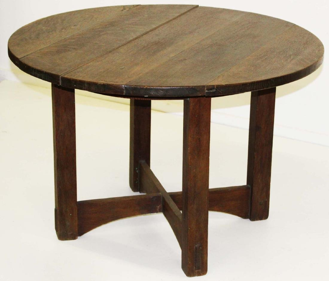 Arts and Crafts Mission oak round center table