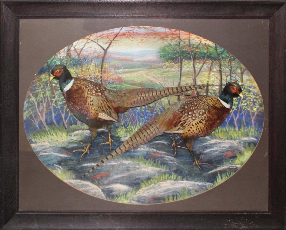 Signed Herman Grieb Pheasant artisan case taxidermy