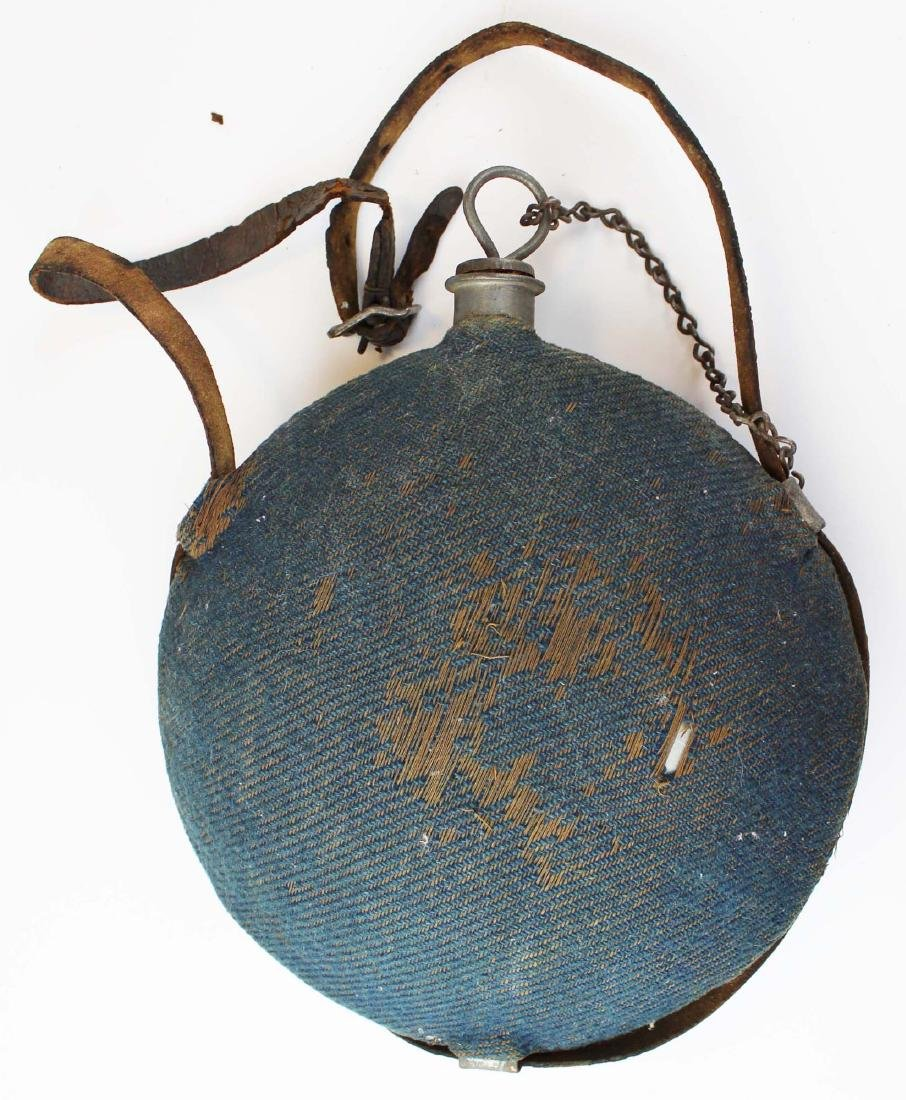 Civil War era blue cloth-covered canteen