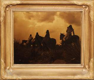 Edward S Curtis (Am 1868-1952) The Storm gold orotone