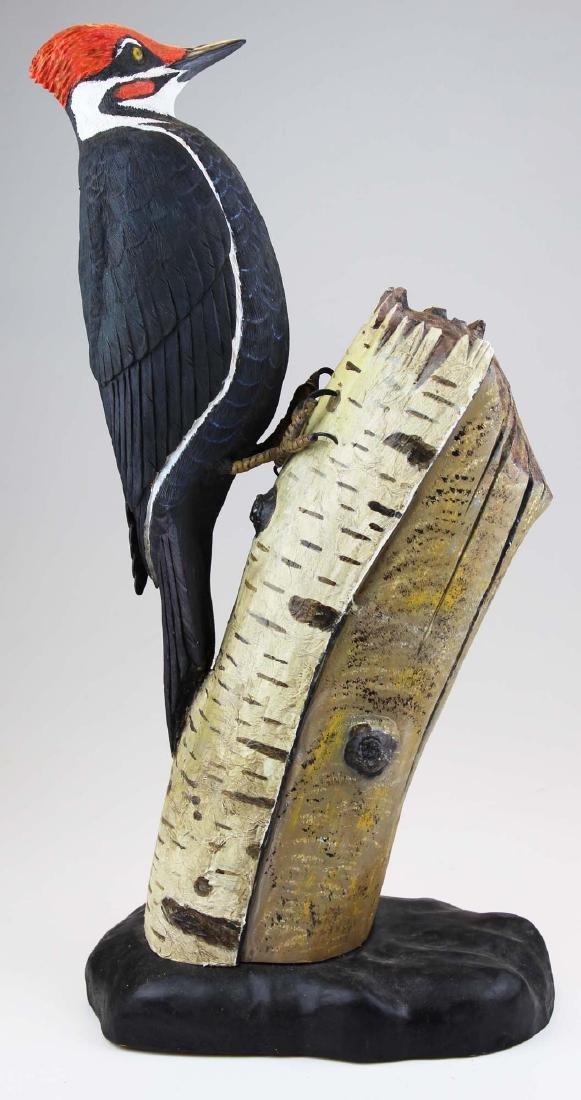 Carved Pileated red head woodpecker by Albert Diem
