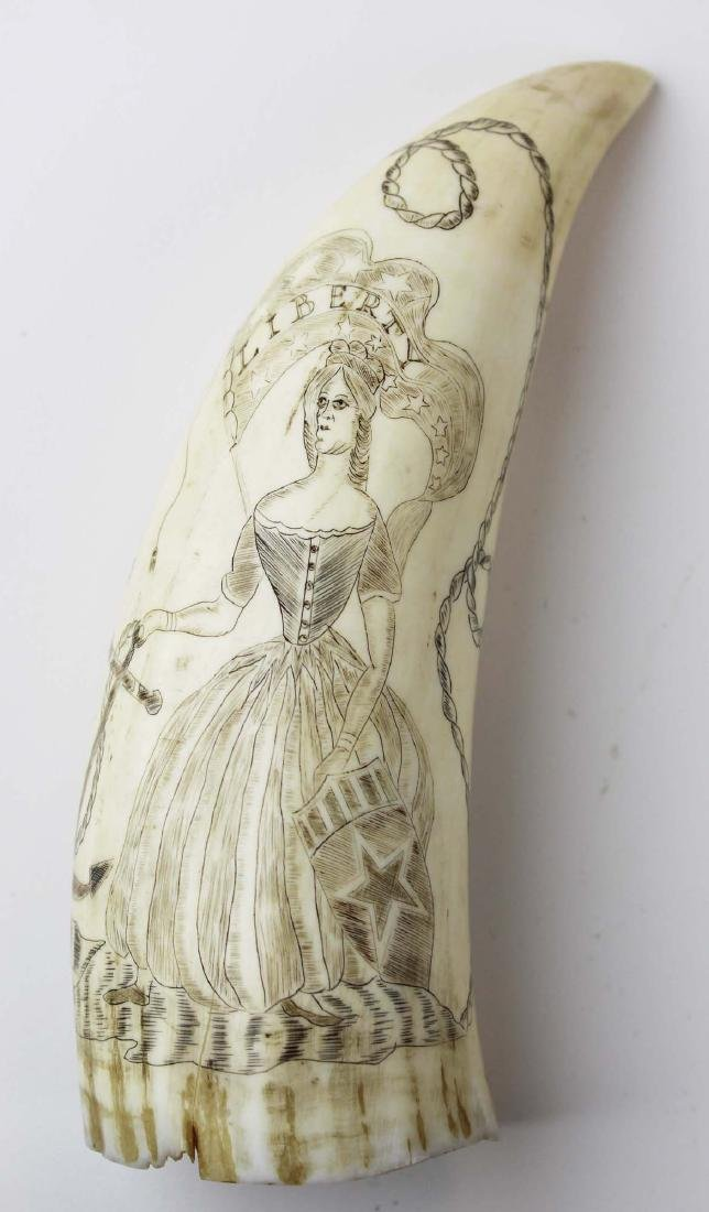 19th c Lady Liberty scrimshaw whale's tooth