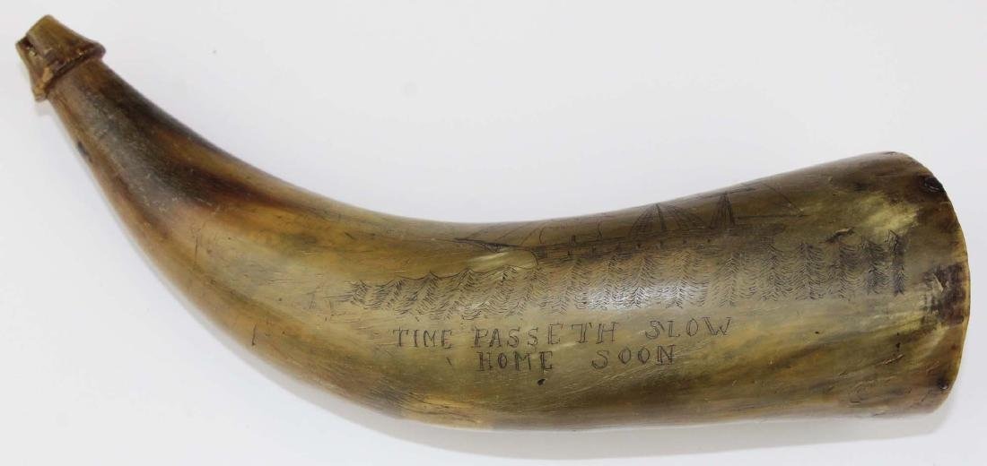 19th c scrimshaw Rockland, ME powder horn