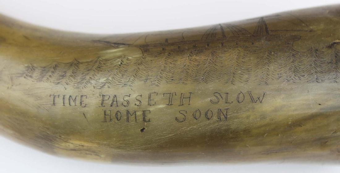 19th c scrimshaw Rockland, ME powder horn - 5