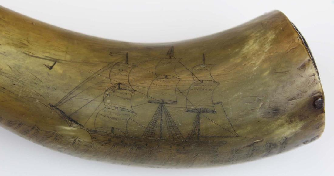 19th c scrimshaw Rockland, ME powder horn - 6