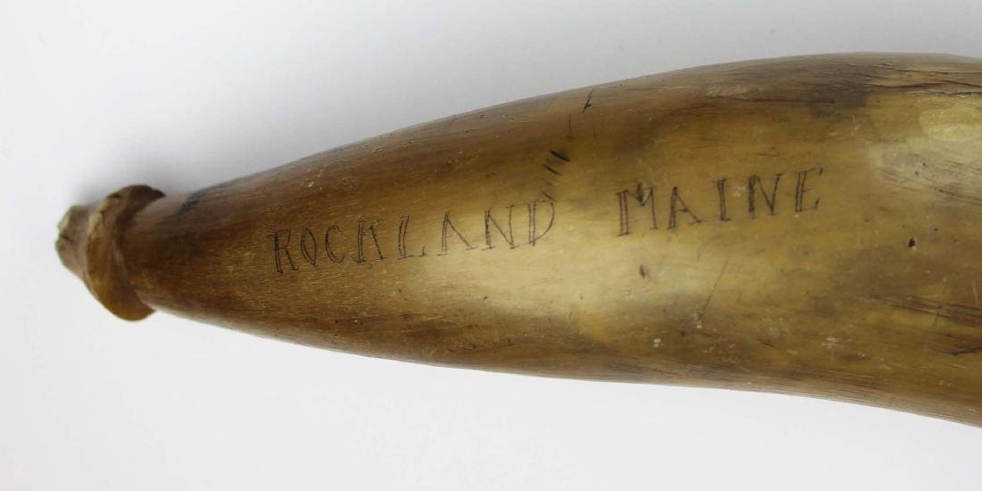19th c scrimshaw Rockland, ME powder horn - 7