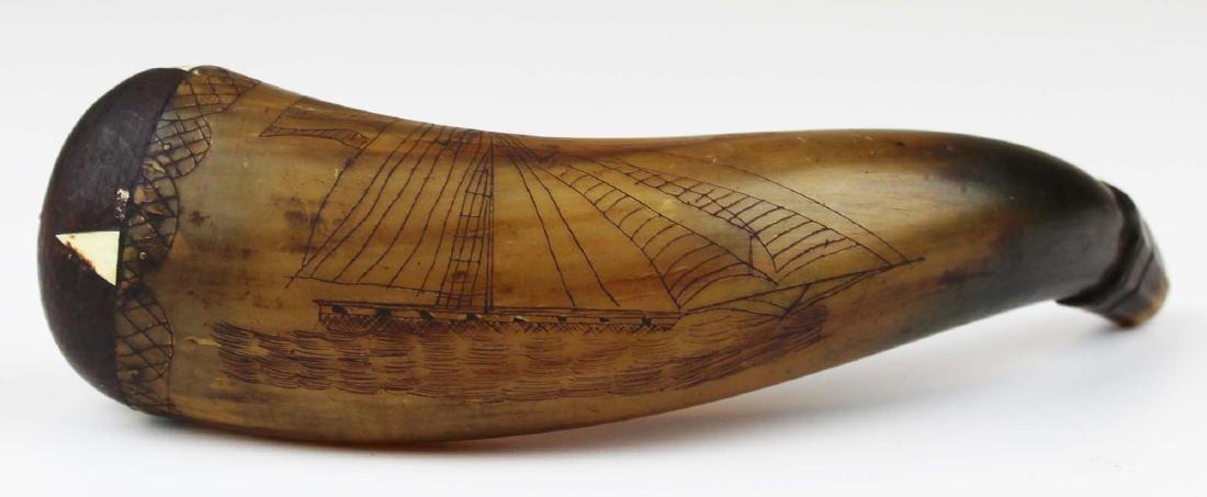 19th c scrimshaw American ship powder horn