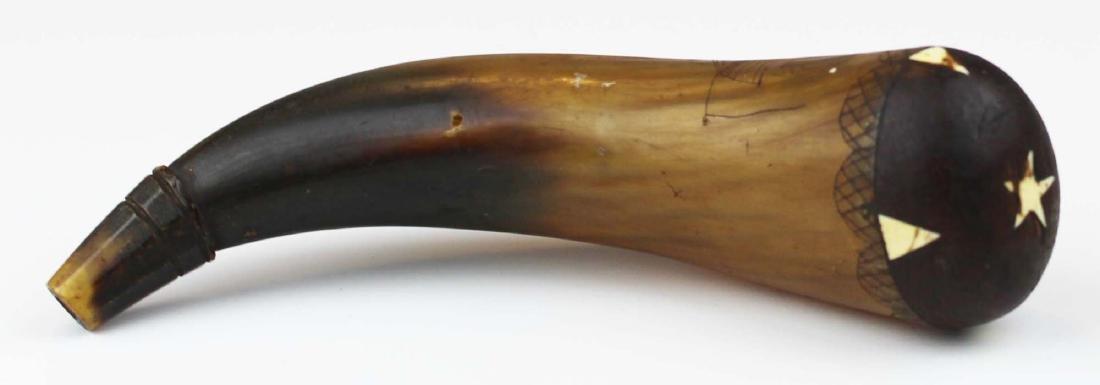 19th c scrimshaw American ship powder horn - 5