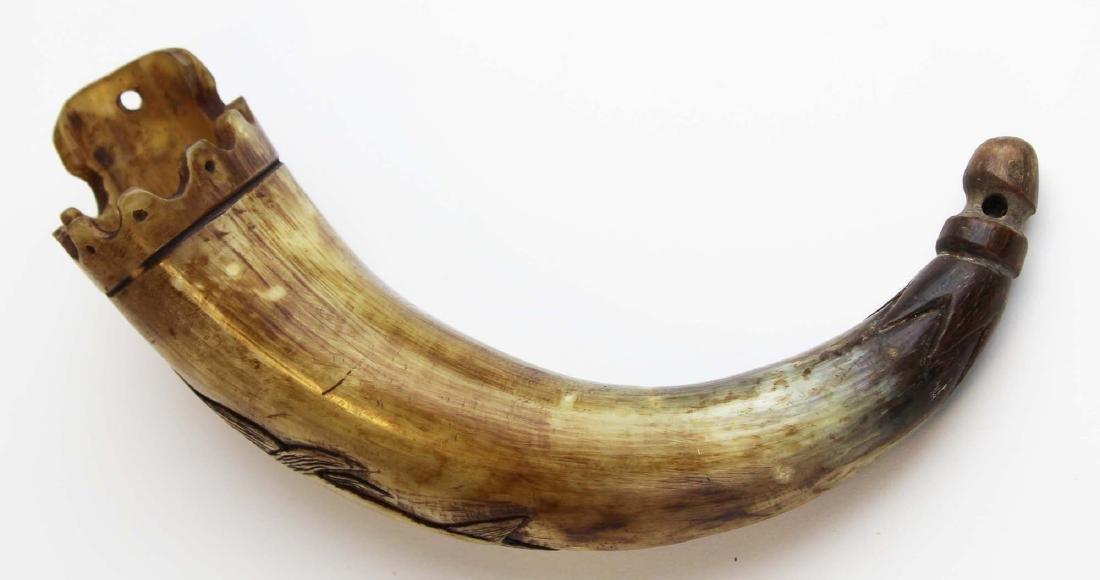 19th c scrimshaw sperm whale powder horn - 2