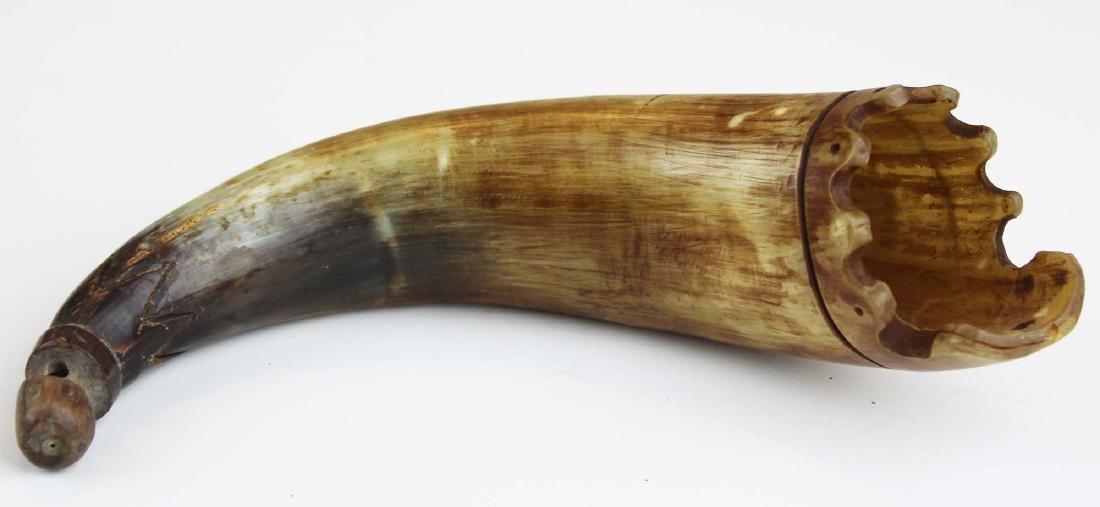 19th c scrimshaw sperm whale powder horn - 3