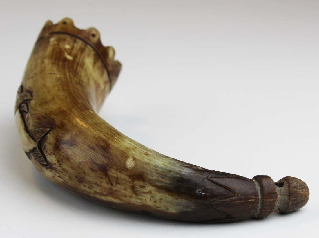 19th c scrimshaw sperm whale powder horn - 5