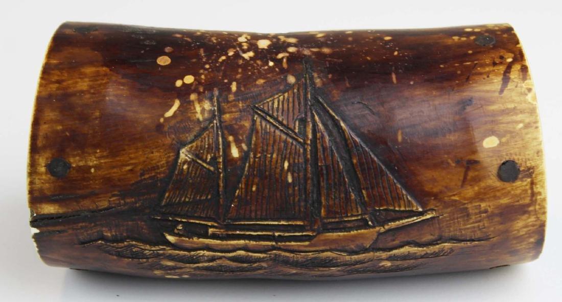 19th c scrimshaw ship powder horn canteen