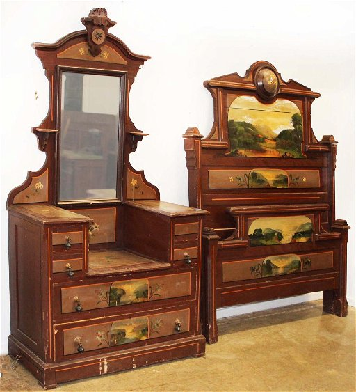 Victorian Scenic Painted Cottage Bedroom Set