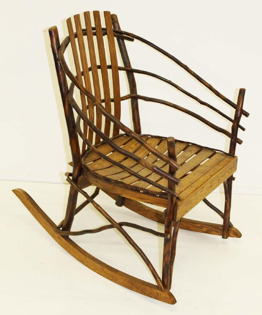 Adirondack style bent hickory and ash rocker
