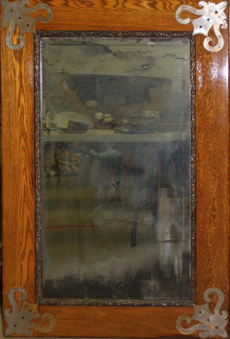 Arts and Crafts wide oak frame mirror