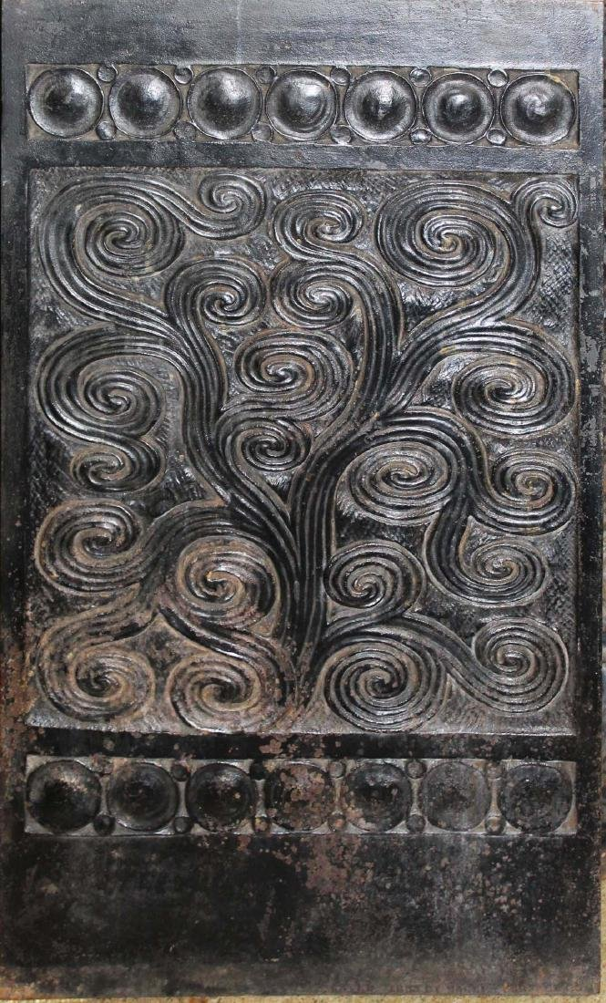 Arts and Crafts cast iron fireback panels