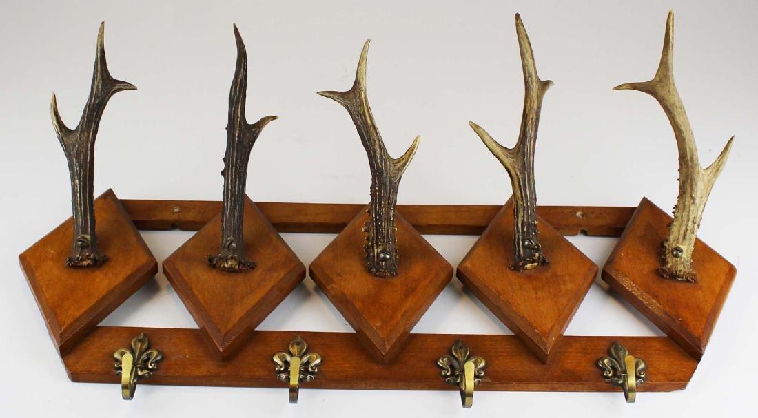 turn of the century deer horn coat rack - 2