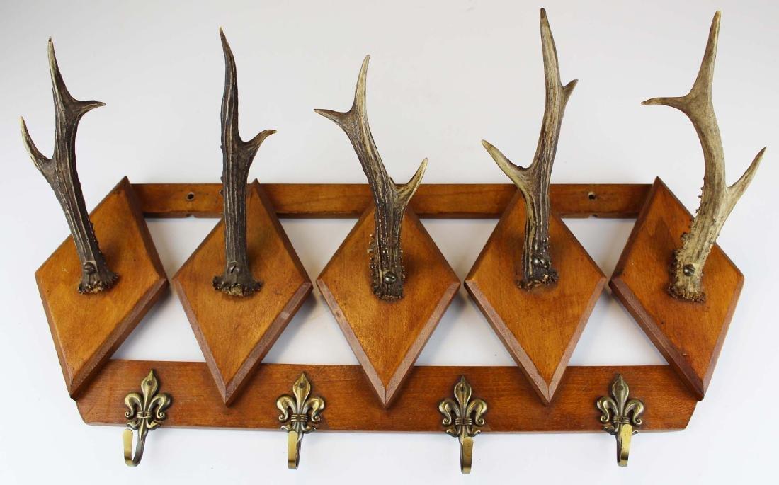 turn of the century deer horn coat rack - 5