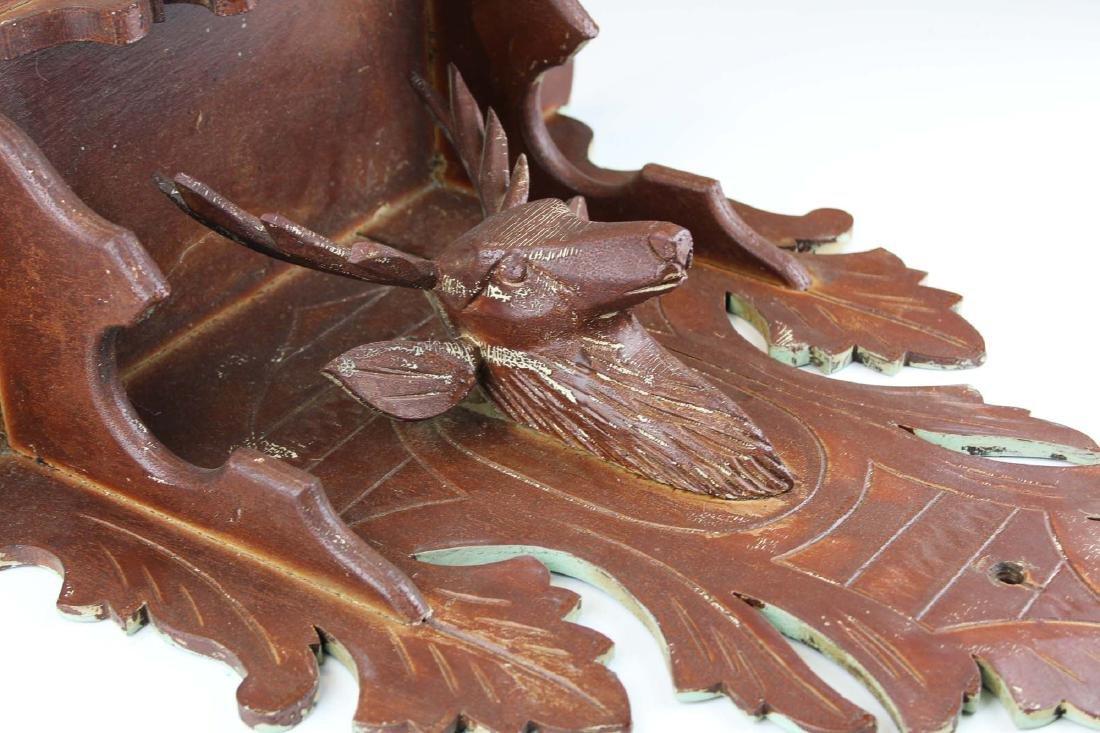 Victorian black walnut stag carved clock shelf - 4