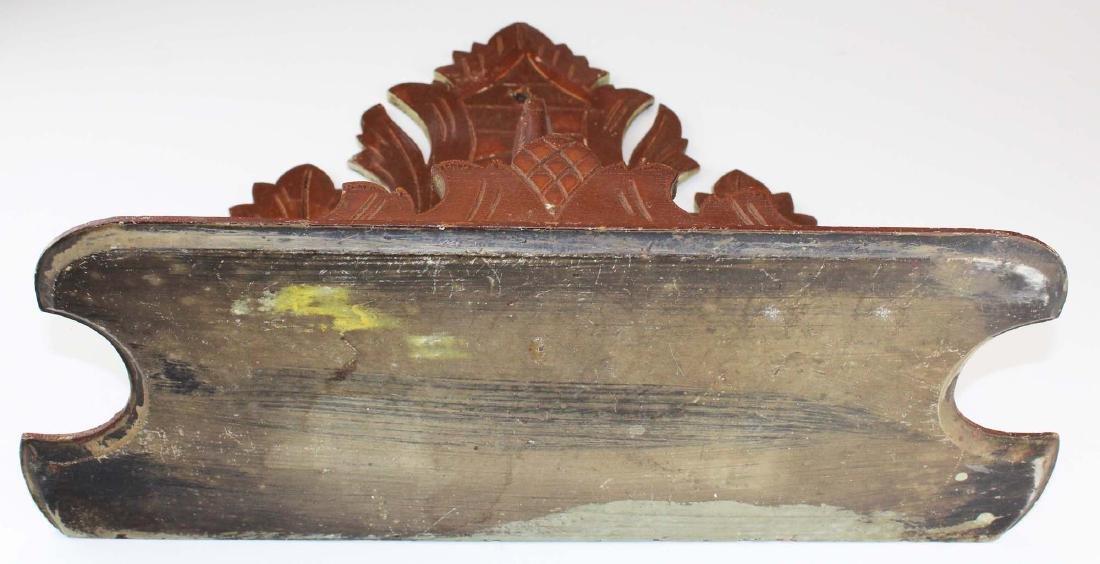 Victorian black walnut stag carved clock shelf - 5