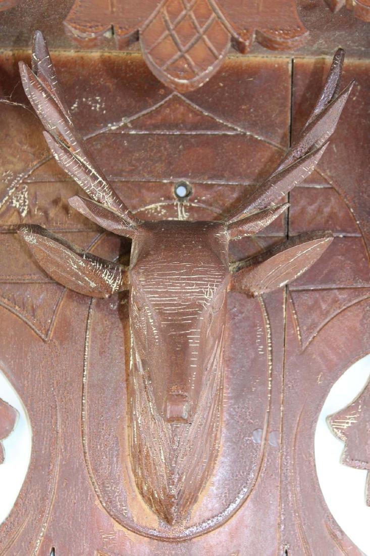 Victorian black walnut stag carved clock shelf - 6