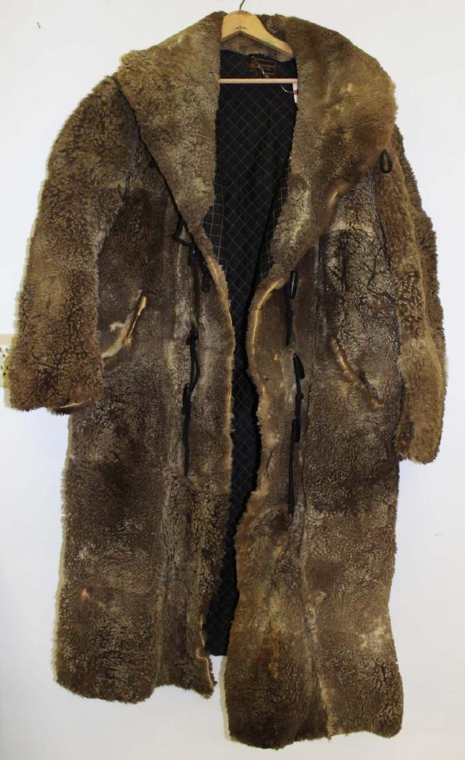 Vintage 1905 light colored buffalo robe coat