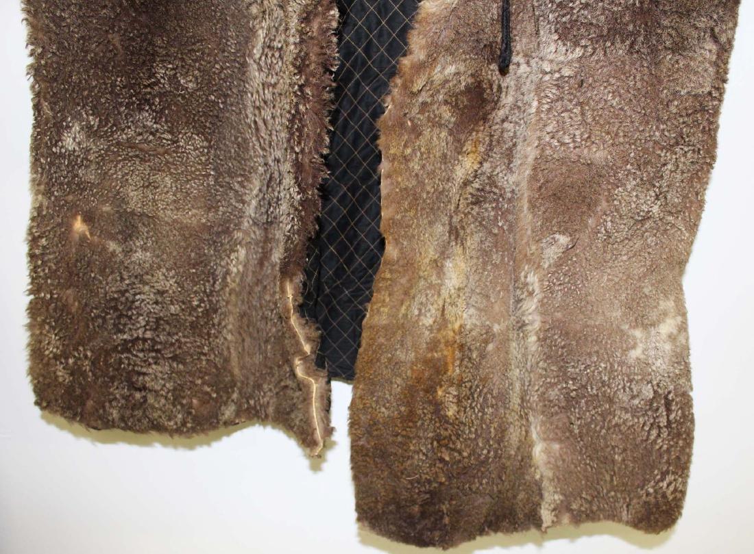Vintage 1905 light colored buffalo robe coat - 5